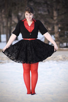 black pouf Jacob skirt - ruby red red Jacob tights
