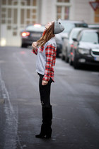 ruby red checkered VJ Style jumper - black velvet Zara boots