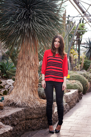 red stripes Sugarlips shirt - black leather Zara jeans