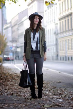 charcoal gray chic H&M hat - black velvet Zara boots