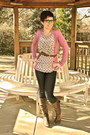 Brown-eric-michael-boots-navy-ag-jeans-ivory-macys-blouse-hot-pink-gap-car