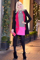black Zara jacket - hot pink Pierre Cardin scarf