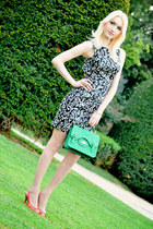 black Zara dress - aquamarine Promod bag