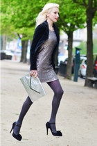 black Valentino shoes - silver VERSO dress - silver Uterque bag
