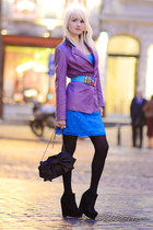sky blue Lana skirt - violet olivier strelli coat - black Valentino bag
