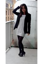 black Zara jacket - silver Naf Naf dress - black vintage from Ebay shoes