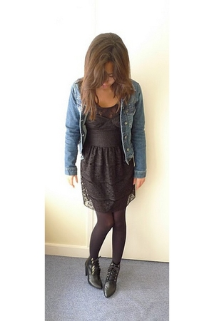 black Zara dress - black H&M boots - blue Zara jacket