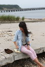 Blue-gap-shirt-blue-madewell-shirt-brown-belt-pink-jcrew-pants-yellow-vi