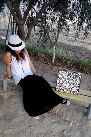 black Americanino skirt - white do it hat - cream Tous bag