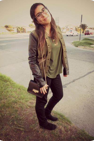 black alaniz boots - black Stradivarius jacket - black Parfois bag