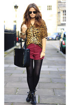 leopard print MinkPink shirt - red ripped MinkPink shorts