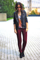 berry Topshop jeans - studded allsaints jacket - galaxy romwe top