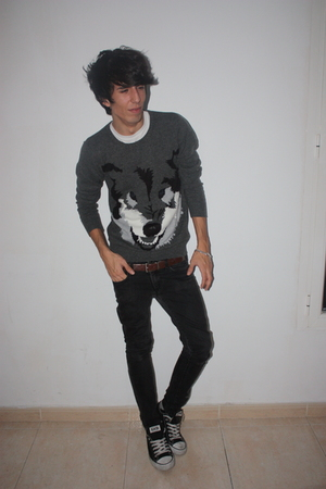 white H&M shirt - gray H&M sweater - brown balenciaga belt - black H&M jeans - b