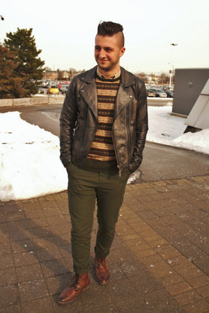 dark brown wingtip boots H&M boots - dark brown H&M jacket