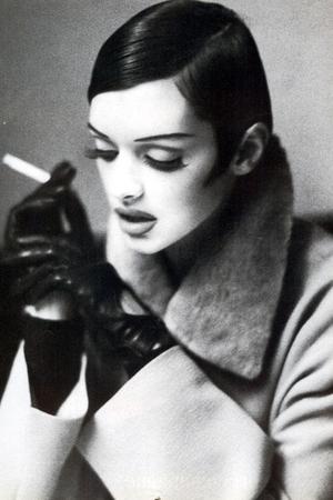 beige coat - black gloves