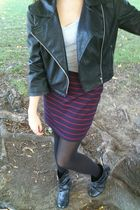 silver Forever 21 shirt - black Sele jacket - red Forever 21 skirt - black tight