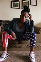 blue jean jacket - american flag leggings - v-neck top - 4 jordan sneakers