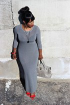 red prabal gurung wedges - heather gray long body con dress - black necklace