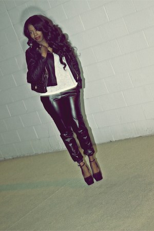 black moto style jacket - black bag - white tank top - black pants