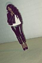 black moto style jacket - black bag - white tank top - black pants