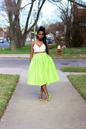 chartreuse midi skirt - lime green prabal gurung sandals - off white top