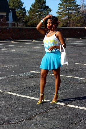 white chevron striped top - yellow neon sandals - turquoise blue skater skirt