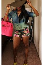 hot pink bag - hot pink floral shorts - chartreuse wedges - blue top