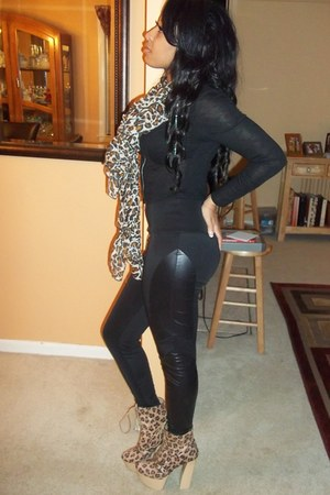 animal print scarf - boots - jacket - leggings