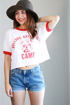 ruby red basketball crop top shirt - wool hat hat