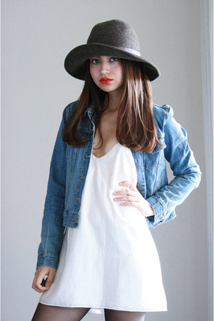 ivory silk dress For Love & Lemons dress - wool hat Target hat
