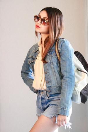 Levis jacket - Target bag - Levis shorts - Karen Walker sunglasses
