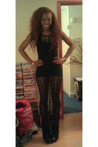 netting tassle vintage from Ebay dress - body con long H & M vest