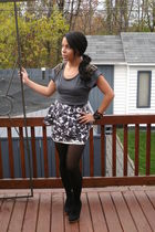 gray top - black shoes - black stockings - white skirt - black bracelet - black
