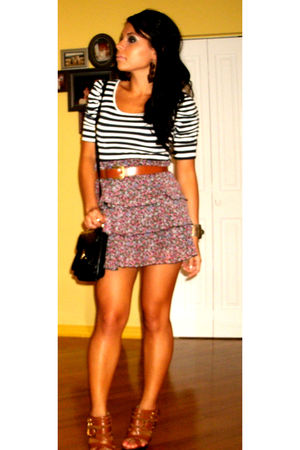 white top - pink skirt - black thrifted purse - brown shoes - brown belt - thrif