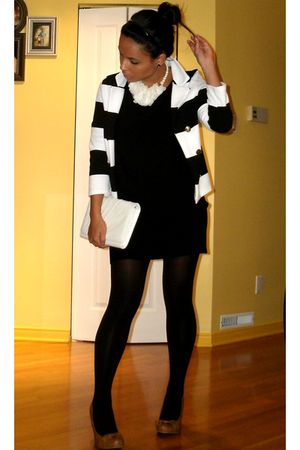 white - white blazer - white necklace - black stockings - black dress - brown sh