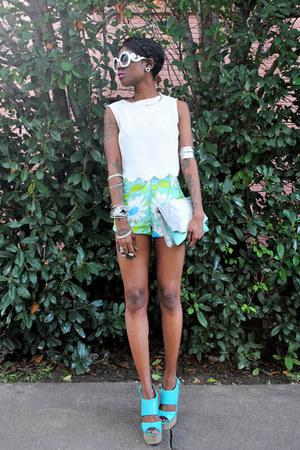 silver arm cuff H&M bracelet - aquamarine Akira bag - aquamarine shorts