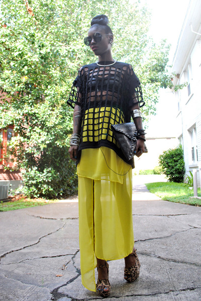 black bag - yellow dress - black cutout cage tee top