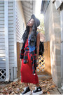Ruby-red-dress-black-hat-black-bag-black-sneakers-sky-blue-vest