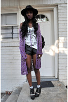 amethyst cardigan - vintage hat hat - shorts - white hm nirvana tank t-shirt