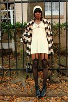 beige thrifted coat - black vintage booties Nine West boots