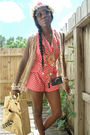 Pink-shorts-beige-vest-beige-purse-white-accessories-yellow-sunglasses-
