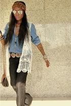 silver belt - blue shirt - brown scarf - white vest