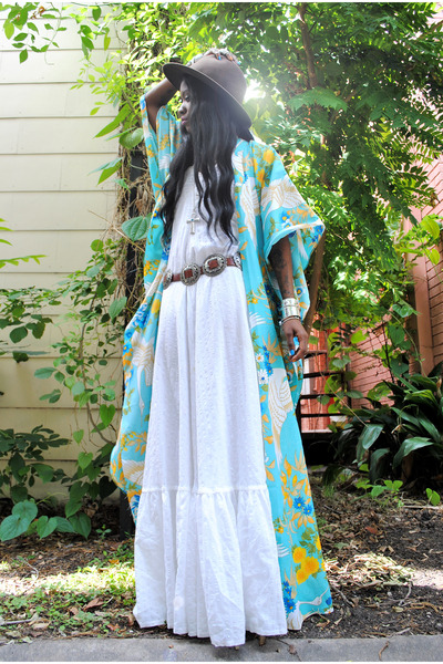dark brown vintage hat - white vintage maxi dress - aquamarine jacket
