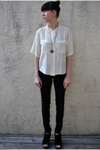 ivory thrifted vintage blouse - black Topshop jeans - black Mia shoes - tan Vest