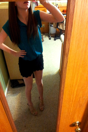 black lacey OASAP shorts - teal tshirt Rue 21 blouse
