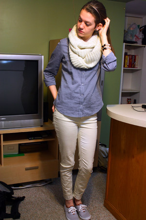 silver Forever 21 shoes - cream skinny jeans Forever 21 jeans