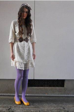 white Colza dress - camel H&M coat - amethyst Mossimo tights - off white bow hea