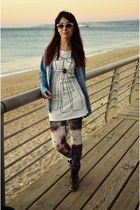 white Vivi dress - gray boots - light purple galaxy print Topshop leggings