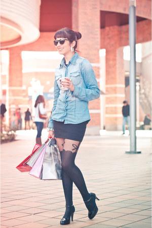 black Topshop tights - black boulevard skirt - blue jeans Fes blouse