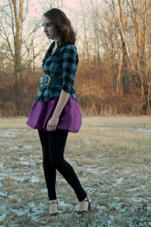 gray cardigan - purple Forever 21 dress - black leggings - black shoes